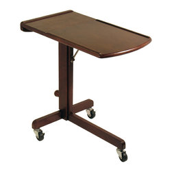 Winsome - Lap Top Cart Adjustable - Great design. This cart gives you work and play wherever you go in the house. Adjustable height & work-surface angle. Moves easily on 3 wheels. Beautiful walnut finish.