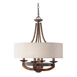 """Murray Feiss - Murray Feiss F2752/4RI/BWD Rustic Iron / Burnished Wood Adan Adan 4 - Murray Feiss F2752/4 Adan 4 Light Single Tier ChandelierThe artfully crafted rustic iron structure, combined with gently curved burnished wood arms make this chandelier the perfect choice for your home. Features 4 elegant candle shaped lights and a crisp fabric shade.Murray Feiss F2752/4 Features:Material: MetalShade Material: FabricShade Color: BeigeShade Shape: DrumMurray Feiss F2752/4 Specifications:Requires: (4) 60W Candelabra Base Incandescent Bulbs  (Not Included) Height: 25.313""""Diameter: 22.125""""Canopy Width: 5.063""""Chain Length: 60""""Wire Length: 180""""Wire Color: BrownWattage: 240Light Direction: Up LightingUL Listed: Dry LocationEstablished in 1955, Murray Feiss began by offering a small assortment of porcelain figurine lamps that were topped with his mother s hand-sewn lampshades, and the brand has evolved over the years into one of the country s leading manufacturers of decorative lighting products. As always, we strive to deliver an expansive selection of beautiful designs, accessible price points and exceptional customer service -- attributes that were all near and dear to Murray Feiss when he founded this company and remain equally important to us today as we look toward the future."""