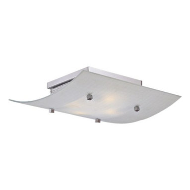 George Kovacs - George Kovacs 4-Light Flush Mount - Four light flush mount with square curved etched glass diffuser with chrome accents.