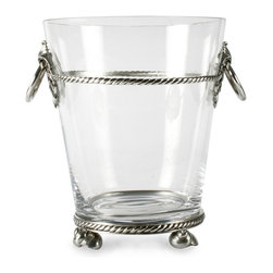 Coquille Glass Ice Bucket - Large - The elegance of an elevated accent on furniture-inspired feet is played with by the design of the Coquille Glass Ice Bucket, which stands on the balanced edges of swirling shells to support the bands of twisted-thread texture that circle the piece. Drop-ring side handles ease the carrying of this barware necessity and contribute to the slightly fanciful attraction of its design details.