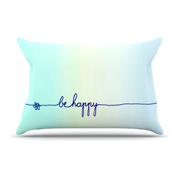 """Kess InHouse - Monika Strigel """"Be Happy Aqua"""" Simple Blue Pillow Case, Standard (30"""" x 20"""") - This pillowcase, is just as bunny soft as the Kess InHouse duvet. It's made of microfiber velvety fleece. This machine washable fleece pillow case is the perfect accent to any duvet. Be your Bed's Curator."""