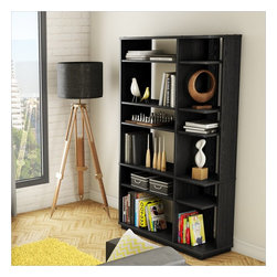 South Shore - South Shore Equi Contemporary Style Shelf Bookcase in Black Oak - South Shore - Bookcases - 4447650 - This Equi Bookcase in Black Oak is the perfect blend of originality and modern design with its asymmetrical look and partly open back. The open storage spaces of varying sizes make this piece highly functional with a touch of flair that enhances the overall look. It also features a full base that keeps the unit from shifting when the floor are being clean. Combine with the Equi TV Stand will certainly add a bold touch to your living room.   The back surface is not laminated. Manufactured from certified Environmentally Preferred laminated particle panels. Complete assembly required by 2 adults. Tools are not included.  5-Year limited warranty.