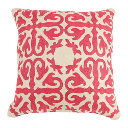 De-Cor - Moroccan Pillow, Rose Pink - Rose pink crewel pillow w/ wool Hand-embroidery.