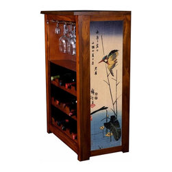 Kelseys Collection - Wine Cabinet 15 bottle Kingfisher by Hiroshige - The Jessica Wine Cabinet showcases and stores wine and glassware with solid  pine construction. Famous artwork is giclee-printed on canvas side panels. The licensed art is from among the World's Best Selling and Recognized Artists. Solid  radiata pine with a hand stained and hand rubbed rubbed medium reddish brown finish. The art is giclee printed on canvas with three coats of UV inhibitor. The canvas is then glued onto panels and inserted into the frames. The overall dimensions are 33  by 22  by 11.5  Net weight 20# Three racks each holding 5 bottles.  Shelf, and stemware holder.  Estimated assembly time   20 minutes