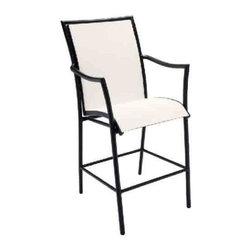 Woodard Dominica Stationary Bar Stool - This Bar Chair shown in a textured black FinishStationary Bar Stool
