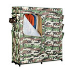 """Honey Can Do - 60"""" Double Door Storage Closet - Camouflage w - Breathable fabric cover- keeps clothes fresh. Exterior shoe storage- 9 pockets for easy access. Heavy-duty steel frame- sturdy & rustproof. Versatile storage area- perfect for laundry room, garage or basement. 23.54 in. x 7.76 in. x 24.8 in."""