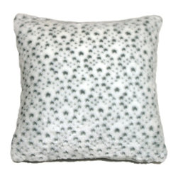 Pillow Decor - Pillow Decor - Snow Leopard Faux Fur 20 x 20 Throw Pillow - There is no shortage of spots on this wonderfully soft snow leopard faux fur throw pillow. The texture of this gorgeous artificial fur pillow is enhanced by a slight variation in fur length between the white background fur and the fur of the gray spots. The effect is sensational and will have you purring in cozy comfort.