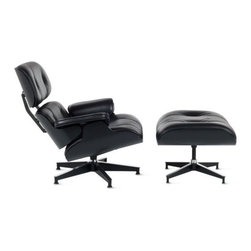 Herman Miller - Eames Lounge Chair and Ottoman - Ebony by Herman Miller - The classic Eames lounge chair, now all in black. And this black is anything but basic. The Eames® Lounge Chair and Ottoman - Ebony by Herman Miller® features supple Black MCL Leather cradled in an ash wood veneer shell stained a deep Ebony. The overall result is sleek and dramatic, the ideal complement to sophisticated modern interiors. Since its early beginnings in 1905 (then known as the Star Furniture Company), Herman Miller has stood as one of the leaders in ergonomic furniture design and manufacture. Today, with a strong focus on designing furnishings with excellent form and function, this Michigan-based company produces a variety of home and office products that improve the human experience wherever people work, create, learn and live.