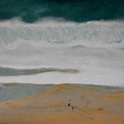 """Original Oil Painting No. B913, Beach Walkers, by Jan Sowarby - 30""""x24""""x.5"""" Oil painting."""