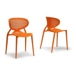 "Baxton Studio - Baxton Studio Neo Orange Plastic Modern Dining Chair (Set of 2) - A pop of color is not only statement-making but the perfect budget-friendly way to instantly liven up your living space. The striking design of the Neo Dining Chair originates from China and is made to be stackable and easy-to-use with a molded orange polypropylene plastic frame with non-marking feet. Vivid, fun, and comfortable, the modern dining chair is fully assembled and should be wiped clean with a damp cloth.  20.25""W x22""D x 32.12""H, seat dimension: 16.87""W x 16.75""D x 19""H"