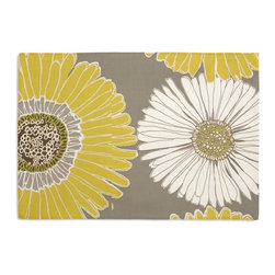 Yellow & Gray Giant Daisy Custom Placemat Set - Is your table looking sad and lonely? Give it a boost with at set of Simple Placemats. Customizable in hundreds of fabrics, you're sure to find the perfect set for daily dining or that fancy shindig. We love it in this oversized yellow & gray daisy on cotton sateen. this giant modern floral is sure to drive you daisy!