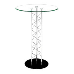 """Zuo Modern - Chardonnay Bar Table - Like an architectural tower, the Chardonnay table has a clear tempered glass top with a chromed steel tube center and a black solid steel base plate. The intricate diagonal """"lacing"""" comes in both bar and dining heights."""