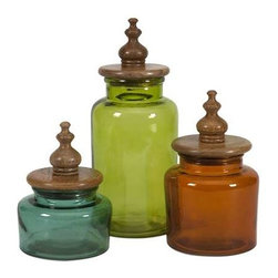 Saburo Glass and Wood Lid Canisters - Set of 3 - Rich jewel toned glass is topped with mango wood lids and turned wood finials for a fashionable set of canisters great for any kitchen or storage use! Food safe.