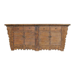 Mortise & Tenon - Scalloped Asian Wood Buffet - This one-of-a-kind wood sideboard adds a note of intrigue and mystery to your home. In your bedroom, it becomes a unique dresser with plenty of room for apparel. In your study or den, keep important papers organized and close at hand. In your dining room, china, silver, placemats and crystal can find a stunning new home.
