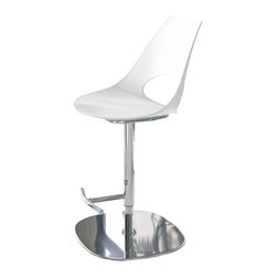 Bontempi Casa - Shark Swivel Stool in White Leather - Sleek and sophisticated with a designer edge, this swivel stool from designer Yoshino Toshiyuki will be a dynamic addition to any decor. Versatile enough for home or commercial spaces, the stool has a chrome finished steel base with a foot rest and a swivel seat upholstered in leather in white finish. Designed by Yoshino Toshiyuki. Swivel stool. Uniquely shaped seat and back in polypropylene. No hard angles or sharp corners. Ergonomic lumber support for comfort over long periods. White leather with white stitches. Adjustable height: 22 in. to 32 in.. Made from chromed steel frame and hide leather. Made in Italy. 18.50 in. L x 20 in. W x 32 in. HShark chair offers the widest possible application, including conference rooms, public spaces, homes, restaurants, hotels and reception areas.