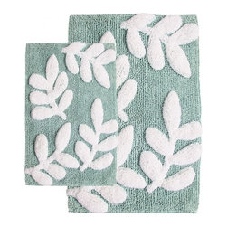 "Chesapeake Merchandising - 2 Piece Monte Carlo Bath Rug Set in Moonstone and White - Luxury 100% Cotton bath rug in vibrant colors. Set of 2 bath rugs includes one 21""x34"" and one 17""x24"". Machine Tufted. Spray latex backing. Dimensions: 21""W X 34""L and 17""W X 24""L; Color: Moonstone, White; Material:  Cotton; Shape: Rectangular; Construction: Machine Tufted"
