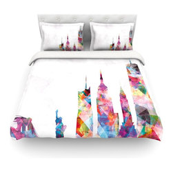"""Kess InHouse - Mareike Boehmer """"New York"""" Rainbow City Cotton Duvet Cover (Twin, 68"""" x 88"""") - Rest in comfort among this artistically inclined cotton blend duvet cover. This duvet cover is as light as a feather! You will be sure to be the envy of all of your guests with this aesthetically pleasing duvet. We highly recommend washing this as many times as you like as this material will not fade or lose comfort. Cotton blended, this duvet cover is not only beautiful and artistic but can be used year round with a duvet insert! Add our cotton shams to make your bed complete and looking stylish and artistic! Pillowcases not included."""