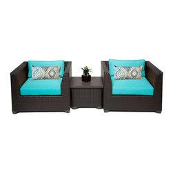 TKC - Bermuda 3 Piece Outdoor Wicker Patio Furniture Set 03a 2 for 1 Cover Set - Features: