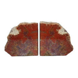 """Michal and Company - Arizona Petrified Wood Bookends - Stunning Arizona Conifer! These Petrified Wood Bookends are impressive and full of unique color detail; shades of red, yellow, violet, white, and green. The cut slabs are high-gloss coated on one side, and in natural finish on the other. Bottom and inside cut is lined with black felt. Perfect design item for the office or library. Ideal gift for the person who usually """"has everything."""""""