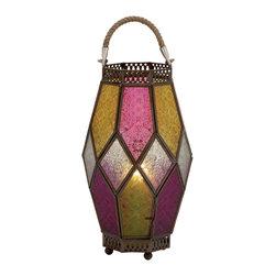 Brighten with Metal Glass Lantern - Description: