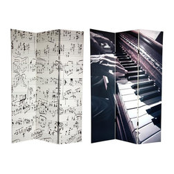Oriental Unlimted - 6 ft. Tall Double Sided Music Canvas Room Div - One double-sided divider, both sides shown in image. Soothe the savage beast with these 2 remarkable images. Meaningful to any music lover, whether your style of choice is Jazz, Rock, Folk, Classical, or both Country and Western. On the front is an interestingly angled close up photograph of venerable hands dancing across the keys of an upright piano. On the back are eight passionate lines of hand written sheet music with the time signatures cropped away. These evocative pieces of photographic art will bring attractive, beautiful decorative accent to your home, clubhouse, TV room, living room or bedroom. This 3 panel screen has different images on each side. High quality wood and fabric covered room divider. Well constructed, extra durable, kiln dried Spruce wood frame panels, covered top to bottom, front, back and edges. With tough stretched poly-cotton blend canvas. 2 Extra large, beautiful art prints - printed with fade resistant, high color saturation ink, creating 2 stunning, long lasting, vivid images, powerful visual focal points for any room. Amazingly inexpensive, practical, portable, decorative accessory. Almost entirely opaque, double layer of canvas, providing complete privacy. Easily block light from a bedroom window or doorway. Great home decor accent - for dividing a space, redirecting foot traffic, hiding unsightly areas or equipment, or for providing a background for plants or sculptures, or use to define a cozy, attractive spot for table and chairs in a larger room. Assembly required. 15.75 in. W x 70.88 in. H (each panel)