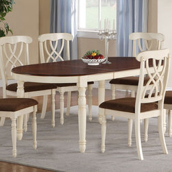 "Coaster - Addison Dining Table - Warm your home with this charming oval dining table. The dark cherry finished table surface includes an 18"" leaf to extend table length up to 96"" inches to easily accommodate guests. The beautiful turned wooden legs are finished in a soft buttermilk hue to complete the quaint, cottage style look. Pair with the matching side chairs for the complete set.; 18"" Extension Leaf; Buttermilk & Dark Cherry Finish; Country Style; Dimensions: 60.00""-78.00""L x 42.25""W x 30.75""H"