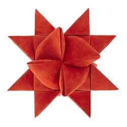 Red Supernova Tree Topper - Made of paper, this origami-like star is a playful tree topper that would look great paired with other hand-crafted ornaments.