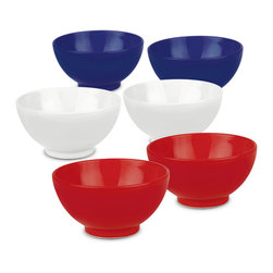 Waechtersbach - Set of 6 Fun Factory Soup Cereal Bowls - Red, White & Blue - This patriotic 'Red, White & Blue' Set of 6 Soup/Cereal Bowls is made from high-fired ceramic. Perfect for the Fourth of July or other national holidays.
