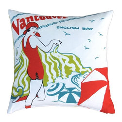 Pillow Decor - Pillow Decor - English Bay Bather Outdoor Throw Pillow - Beginning in 1913, English Bay Beach-goers could rent bathing suits for 10 cents, a practice that lasted until 1963. Unfortunately, rental suits were slightly less fashionable than the one sported by the young lady in this illustration, dating from 1928. The brochure from which this image originates lists delightful English Bay as the first stop one should make on their visit to Vancouver. From the Museum of Vancouver's Retail Collection this fun and colorful indoor/outdoor throw pillow will add life to any location.