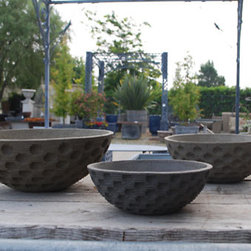 Branch Stoneware Bowl - I like having a variety of heights in my patio planting. These bowls provide a low, wide planting area with a great polka dot pattern in the stone.