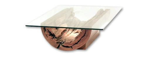Rotsen Furniture - Canoa Coffee Table — Salvaged Tree Trunk - Reclaimed and repurposed into a stunningly beautiful accent table, this naturally fallen Vinhatico tree will be the soul of the room in which you place it. If you've been looking for a totally unique statement piece that you can feel good about, this gorgeous, glass-topped coffee table is the one for you.