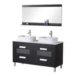 "Design Element - Design Element DEC019 Francesca 55"" Double Sink Vanity Set in Espresso - Design Element DEC019 Francesca 55"" Double Sink Vanity Set in Espresso"