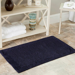 Safavieh - Spa 2400 Gram Resorts Navy Cotton 21 x 34 Bath Rugs (Set of 2) - Beautify your bathroom with this navy bathroom rug set. Made of cotton, these thick, dense bath mats are extremely soft and ultra-absorbent, making them ideal for stepping on after a bath, and the skid-resistant pad will help prevent slips and falls.
