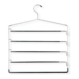 Honey Can Do - Five-Tier Swinging Arm Pant Rack - Chrome plated steel. Sturdy & rust-resistant. Vinyl coating. Maximum grip. Tiered design. Hang 5 garments in space of 1. 16 in. L x 0.21 in. W x 17.5 in. H (0.155 lbs.)Honey-Can-Do HNG-01202 Five-Tier Swinging Arm Skirt/Pant Hanger, Chrome/Black. Maximize your closet space by hanging up to 5-pair of pants vertically with this 5-tier Swinging Arm Hanger. Thick metal arms swing out for easy hanging, then lock back in place for a secure hold. Durable metal construction and chrome finish provide long-lasting beauty and reliability. Black vinyl coated rods are gentle on delicate garments and provide a non-slip surface that holds fabrics beautifully in place. Can also be used for belts, scarves, or ties. Rotate hanging sides by tier for the greatest space-saving capacity.