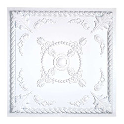 """Renovators Supply - Ceiling Tiles White Polymer Ceiling Tile 23 3/4 in/sq. - Ceiling Tile. Easy-to-install polymer ceiling tiles can be nailed, stapled, glued or dropped into any kind of ceiling. Get the period effect by using as is or by painting to suit your decor. Each tile is 23 3/4"""" square."""