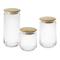 Glass Canisters With Wood Lids