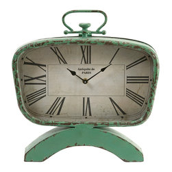 Retro Clock - In a classic retro pistachio finish, this vintage clock features an aged finish and classic mid-century shape.