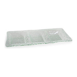 Danya B - Rectangular Three Sectional Textured Glass Serving Appetizer Platter - This gorgeous Rectangular Three Sectional Textured Glass Serving Appetizer Platter has the finest details and highest quality you will find anywhere! Rectangular Three Sectional Textured Glass Serving Appetizer Platter is truly remarkable.