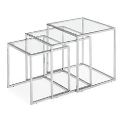 "Zuo - Silhouette Set of 3 Glass and Chrome Nesting Accent Tables - Get a new look for your home with this set of nesting tables. Sharing the same design all of the three tables store neatly under one another to take up the least amount of space. Set of 3 nesting tables. Small table is 17"" high 16"" wide. Medium table is 19"" high 17"" wide. Tall table is 20 1/2"" high 19"" wide.  Glass tops.  Chrome finish.   Set of three.  Some assembly required.  Small table is 17"" high 16"" wide.   Medium table is 19"" high 17"" wide.   Tall table is 20 1/2"" high 19"" wide."