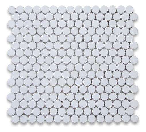Stone Center Corp - Thassos White Marble Penny Round Mosaic Tile 3/4 inch Honed - Premium Grade White Thassos Marble Penny Round Mosaic tiles. Greek Thassos White Pure White Marble Honed 3/4 in. Round Mosaic Wall & Floor Tiles are perfect for any interior/exterior projects. The Thassos White Marble 3/4 inch Penny Round Mosaic tiles can be used for a kitchen backsplash, bathroom flooring, shower surround, countertop, dining room, entryway, corridor, balcony, spa, pool, fountain, etc.