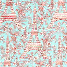 Fabric turquoise Michael Miller fabric Eiffel Tower flowers