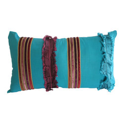 Garden Candy - Blue Ruffled Oblong Pillow - Garden Candy's Decorative Ruffled Oblong Pillow combines silk, linen, organza, and ruffled silk to create a truly distinctive masterpiece.  Consider adding this unique, vibrant touch to accompany our Silk Bedding line.  These are limited edition so get them before they are gone!