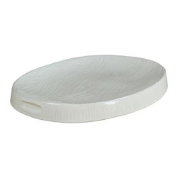 Montes Doggett - Handmade Appetizer Tray, Oval - This unique platter is begging for an assortment of cheeses and meats. It's made for entertaining and would look right at home on your buffet table during a party. You could even clean it off and use it again for desserts at the end of a meal.