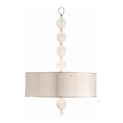 "Arteriors - McKale Pendant - This piece is like a symphony for your room. The fluted glass ""beads"" introduce a sweet and lilting melody, crescendoing with the tympanic roll from the gleaming silver drum shade. It's a striking, high-quality fixture sure to make you shout, ""Encore!"""