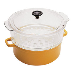 """Paderno World Cuisine - Chasseur 4 Qts. Cast Iron Steamer Set, Red - This steamer comes with an enamel cast-iron sauce pot, a heavy duty tempered glass colander, and a tempered glass lid. When placing the food in the colander the steam rises through the perforations in the glass and steams the contents. Shown in Yellow.; comes with a glass lid; retains and distributes heat evenly; enameled twice for added durability; dishwasher safe; Made in France; Weight: 12.8 lbs; Made in France; Dimensions: 7.25""""H x 19.37""""L x 10.0""""W"""