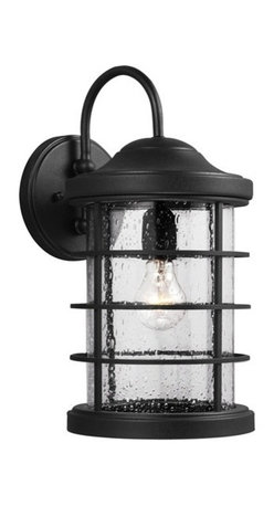 Sea Gull Lighting - Sea Gull Lighting 8624401-12 Sauganash 1-Light Outdoor Wall Lantern in Black - The Sea Gull Lighting Sauganash 1-Light outdoor wall fixture in black enhances, the beauty of your property, makes your home safer, and more secure and increases the number of pleasurable hours you spend outdoors.