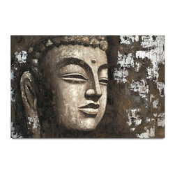 "Vertuu Design - 'Enlightened' Artwork - Create an easy Zen vibe in your home using the ""Enlightened"" Artwork. This hand-painted acrylic canvas features the face of Buddha in distressed brown, beige and white hues. Silver leaf accents add texture and shine to the piece. Display it above a bed or mantel for a striking look."