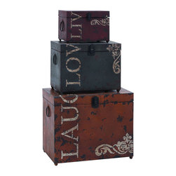 """Benzara - Classic Live Love Laugh Iron Storage Trunk Set - The most thoughtful gift is that of love and laughter. This set of storage trunks combine that message with a charming style of decoration. Each of the three feature stylish reminders to """"live, love and laugh."""" Made with aged iron alloy throughout, each trunk is suited to be as useful as it is thoughtful.; Made of aged metal alloy; Sizes: 16""""x9""""x13"""", 12""""x7""""x9"""", 9""""x6""""x6"""""""