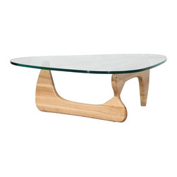 """Hampton Modern - Isamu Noguchi Coffee Table with Natural Base - The Noguchi Style Coffee Table features a freeform 3/4"""" thick tempered beveled glass top resting on a curved hardwood base. Through creative design, it is both sturdy and fashionable. An excellent choice for smaller living rooms due to the """"see-through effect"""" of the glass top, it is a perfect complement to clean living room sets."""