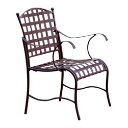 International Caravan - Wrought Iron Patio Chairs - Set of 2 - Set of 2. Includes arms for extra comfort. Water proof protective coating against rain and harsh weathers. Matte brown color. Assembly required. 22 in. W x 19 in. D x 35 in. H (22 lbs.)The Santa Fe patio chairs is beautiful addition for any patio set.